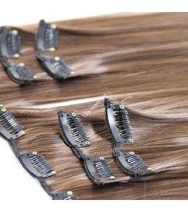 Středně  čokoládově hnědé luxusní syntetické vlasy