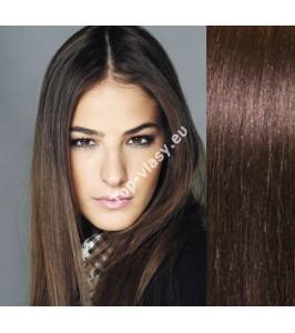 Clip in vlasy tmavě hnědé -  DeLuxe sady