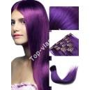 Fialové - Purple  Clip in vlasy 90 - 130 gram