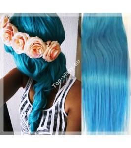 Tyrkysové - Světle modré Clip In vlasy 90 - 130 gram