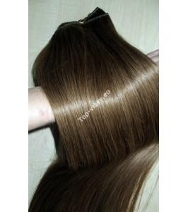 Clip in vlasy -  Popelavě hnědé 9  DeLuxe XXL sady