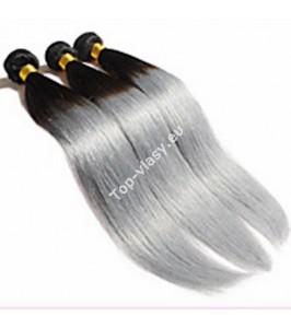 Clip in ČERNO-ŠEDÉ / Black-Silver OMBRÉ sady 50cm / 120 gram