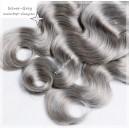 Šedé - Stříbrné  vlasové pásy- tresy/SILVER - GREY/ VLNITÉ/40 - 65cm!