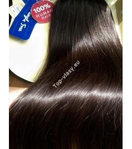 Clip in vlasy - Tmavě hnědé DeLuxe XXL sady