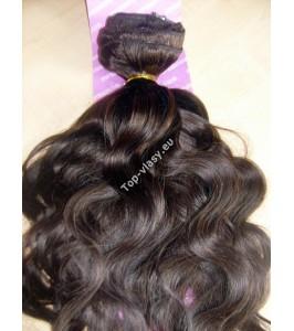 Tmavě hnědé clip in DeLuxe vlnité vlasy