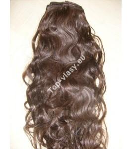 Středně hnědé clip in DeLuxe vlnité vlasy