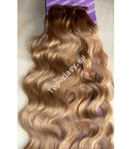 Jahodové blond clip in DeLuxe vlnité vlasy