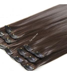 Nejtmavší hnědé luxusní syntetické vlasy